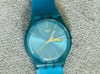 Turquoise SWATCH NEW GENT REBEL SERIES WATCH Luscious! Round Dial 41mm