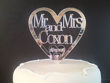 *NEW/PERSONALISED WEDDING CAKE TOPPER/ACRYLIC MIRROR*MR AND MRS/DATE