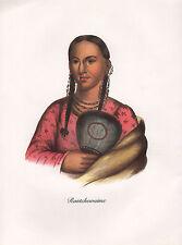 VINTAGE PRINT of 1830's NATIVE AMERICAN INDIAN ~ RANTCHEWAIME FLYING PIGEON IOWA