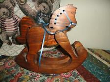 Wooden Rocking Horse Solid Pine Decorative for Dolls or Bears