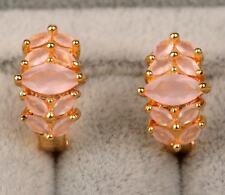 18K Yellow Gold Filled - Opal Pink Topaz Zircon Flower Cat Eye Gemstone Earrings