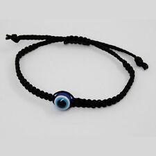 Nazar Auge Blaue Perle Evil Eye Makramee Armband Glücksarmband Schwarz 25 cm
