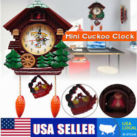 2018 Vintage Wood Cuckoo Clock Forest House Swing Wall Alarm Art