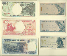 INDONESIA 134 BANKNOTES UNCIRCULATED & CIRCULATED 1,5,10,25,100,500,10000