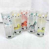 Vintage Libbey Carousel Tall Glasses Set of 5 Frosted Highball Cocktail Zebra