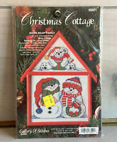 "Bucilla Cross Stitch Kit Christmas Cottage ""Snow Bear Family"" Framed DIY Holiday"