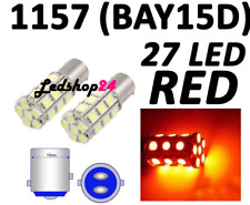 X2 Lampade Led BAY15D 1157 P21/5W 27 SMD 5050 CAMPER STOP ROSSO RED POWER  **