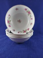 """NASCO ROSE ANN FINE CHINA 4 COUPE CEREAL BOWLS 6 1/4"""" DIAMETER. GOOD CONDITION."""