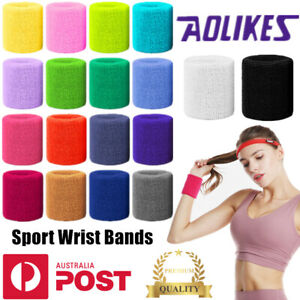 Sport Cotton Wristbands Wrist Bands Sweatbands Sweat Training Tennis Gym Yoga