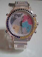 Silver Finish Mens hip hop Bling  clubbing Map dial  bracelet fashion  watch