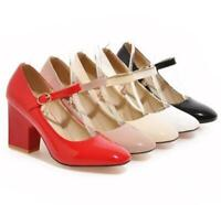 Patent Leather Womens Mary Janes Mid Block Heels Ankle Strap Pumps Casual Shoes