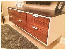 "New By Urban - 72"" Floating Zebrawood Entertainment Center / Vanity Cabinet."