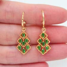 18K Yellow Gold Filled Women Green Topaz Geometric Lozenge Dangle Earrings