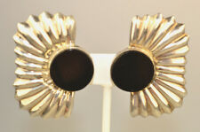 Clip Earrings 1 7/8 Inches Tall Vintage Mexican Sterling Silver Huge Black Onyx