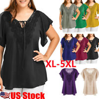 Plus Size Women Summer Lace Chiffon Shirts Short Sleeve Plain Blouse Tops Tee US
