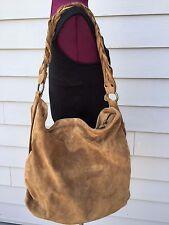 EILEEN FISHER Brown Suede Tote Bucket Handbag 0- Braided Handle - Zip Top