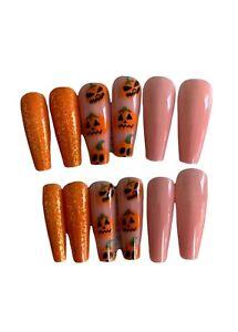 Pumpkin halloween Nails, Long Coffin Nails, Press On nails, False Fake Nails,