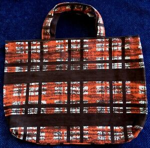 New Handmade Reusable Fabric SMALL TOTE BAG: Gift, Book Lunch ORANGE BROWN PLAID