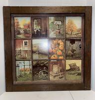 Vtg Home Interiors Homco Window Pane Picture Fall Farm B Mitchell Pumpkin Wagon