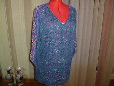 NWT Lucky Brand 100% Rayon 3/4 Sleeve V-neck Top/Tunic multi-colored size 3X.