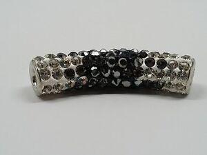 Brass Middle East Rhinestone Tube Bead - Jet Black Crystal
