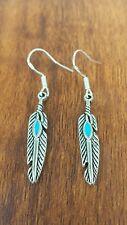 Turquoise Feather Earrings Gypsy HIPPIE Boho Festival Silver925 Hooks