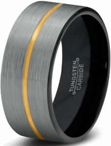 Pipe Cut Brushed Black & Gold Plated Tungsten Carbide Ring With Gold Center Line