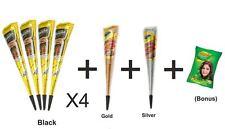 4 Schwarzer Golecha Cone Gratis 1 Silberner Glitzer Kegel 1 gold glitter cone