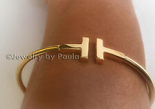 New T SQUARE 14k Solid Genuine Yellow Gold T Wire Bangle Bracelet One SIZE
