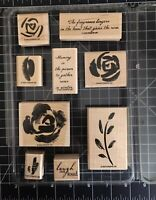 Stampin Up Roses In Winter Wood Stamp Set 9 Piece Wooden