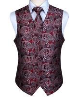 Men's Dress Vests Paisley Tie Waistcoat Vest Pocket Square Tie Set Suit Wedding