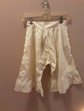 Antique Vintage Womens White Cotton Bloomers Pantaloons Embroidered Floral