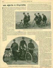 Publicité ancienne document les agents à bicyclette issue de magazine 1900