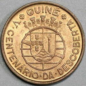1946 Guinea-Bissau 1 Escudo Red UNC Portugal Colony Discovery Coin (21060607R)