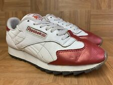 Vintage🔥 Reebok UK Flag Flower Low White Cherry Red Toe Men's Shoes Sz 10.5