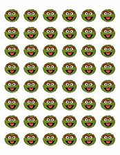 """48 OSCAR THE GROUCH ENVELOPE SEALS LABELS STICKERS 1.2"""" ROUND"""