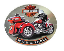 Harley-Davidson Bar & Shield Embossed Red Trike Oval Tin Sign (15.75x13) 2011341