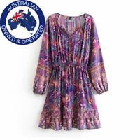 Vintage Chic Hippie Boho Purple/ Brown Long Sleeve Short Tie Waist Button Dress