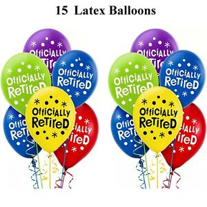 Retirement Party Decoration ~ 15 Latex Balloons Officially Retired Balloons