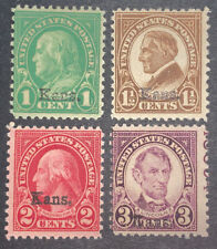 Travelstamps: 1929 US Stamps Scott #658-661 Kansas overprints Mint Og Hinged