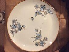 Vintage El Palomar Tonala Blue 14' platter  Ken Edwards Bird Butterfly