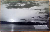 1910 Lake Ripley AZO Realphoto Postcard: Moonlight - Wisconsin WI Wis