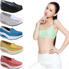 Women Walking Fitness Shape Ups Casual Shoes Platform Wedge Creeper Sneakers A
