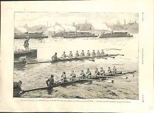 Match des rameurs Société nautique de la Marne Rowing-Club de Paris GRAVURE 1892