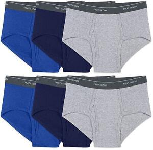 6 Big Man Blue Gray Briefs 4XB 54-56 Inch Fruit Of The Loom 4EG 137-142 CM
