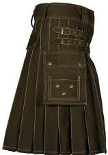 Men Utility kilt costume Highland 100%Brown Cotton Adult Custom Made HandMade