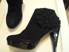 """Womens-Size-8-Shoes-Black-4.25""""-High-Heels-Leather-Upper-Rosette-Deco-Round-Toe"""