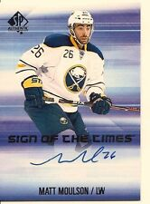 MATT MOULSON 2015-16 SP AUTHENTIC SIGN OF THE TIMES ON CARD AUTO