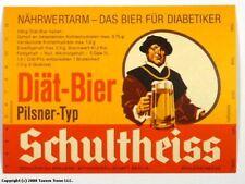 Unused 1960s Germany Schultheiss Diat Bier Pilsner Typ Label