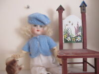 NO DOLL SWEATER & BERET TAM HAT FOR BLEUETTE  NO DOLL